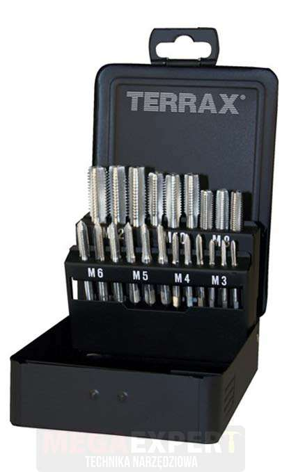 TERRAX Zestaw 21 gwintowników ręcznych HSS, w kasecie przemysłowej